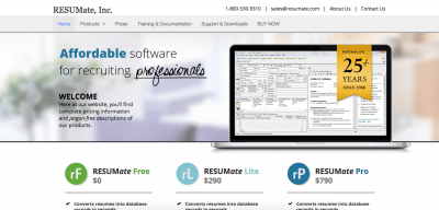 RESUMate Recruiting Software RESUMate E1435010041661  Resumate