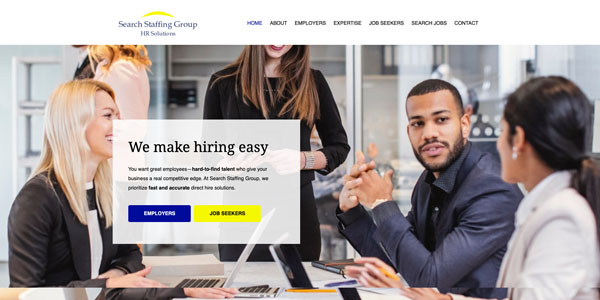 Search Staffing Group Homepage Screen